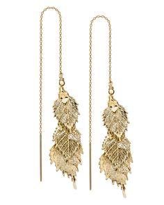 "6"" 14k Gold Vermeil Aspenglow Threader Earrings - JewelMint. I absolutely love gold skeleton leaves!"