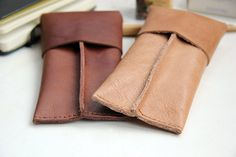 Leather case for pens or glasses Café latte light brown by rensz