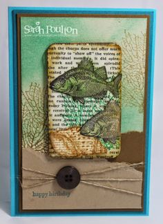 Stampin' Sarah!: By the Tide Birthday Bookmark. Stampin' Up! birthday card made with By the Tide stamp set and an altered gift card covered in Modern Medley DSP.