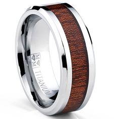 <li>Men's titanium and wood ring</li><li>Titanium jewelry</li><li><a href='http://www.overstock.com/downloads/pdf/2010_RingSizing.pdf'><span class='links'>Click here for ring sizing guide</span></a></li>