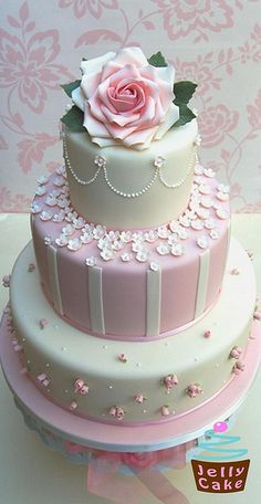 Pink Roses and Blossoms Wedding Cake by www.jellycake.co.uk, - I really love the top tier on this one!