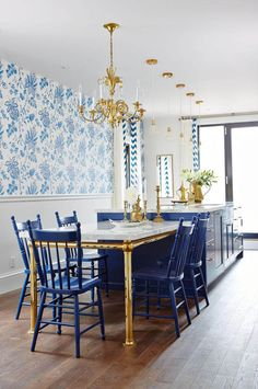 I want a bar like this marble and brass, oh so pretty with chandeliers. Elegant yet functional. LOVE!  Marcus Design: {sarah richardson's blue & white kitchen}
