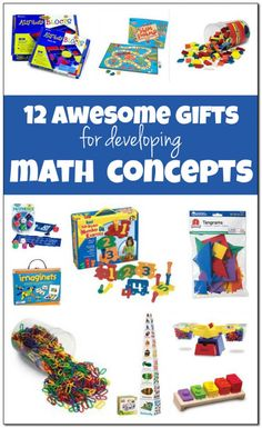 Looking for gift ideas to help kids develop early math concepts? Here are 12 toys that teach math concepts for babies, toddlers, preschoolers, and beyond! || Gift of Curiosity