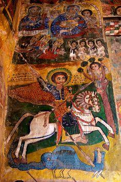 Religious fresco at Abreha We Atsbeha rock-hewn church . Tigray, Ethiopia