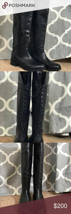 Charles David high boots. Love these leather black boots. They lace up in the back, they have a bit of an edgy look to me. Can always send more photos. Plastic box included😁 Charles David Shoes Over the Knee Boots