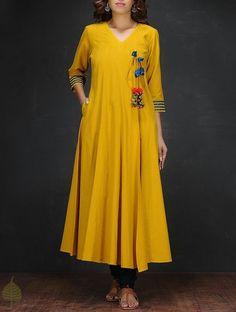 Yellow Handloom Cotton Angrakha by Jaypore Kurta Patterns, Dress Patterns, Kurta Designs Women, Blouse Designs, Salwar Designs, Indian Attire, Indian Wear, Indian Dresses, Indian Outfits
