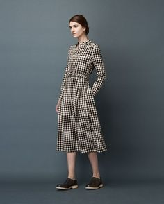 Women's Double Faced Gingham Shirt Dress
