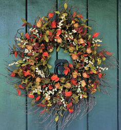 Pumpkin Spice - Stunning Chinese Lantern and Berry Wreath, Fall Wreath, Fall Leaves, Autumn Wreath, Harvest Wreath, Fall Decor