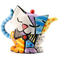 Buy Romero Britto - Teapot Cat online and save! Ceramic and hand painted teapot with a funky cat design. Romero Britto is a Brazilian born artist, often called the leading pop artist . Gatos Cat, Teapot Cookies, Cute Teapot, Teapots Unique, Teapots And Cups, Ceramic Teapots, Cat Design, Tea Set, Tea Party