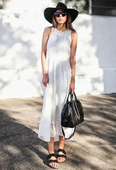 White summer maxi dress and Birkenstocks #style #fashion