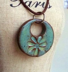 Soft Watercolor Effect Ceramic Pendant Flower in by Artgirl56