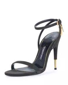 X3KBE TOM FORD Suede Ankle-Lock 105mm Sandal, Black