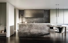 Metallic range hood // minimalist glam kitchen