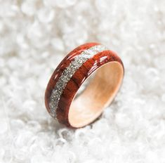 Wood Ring Hybrid Bubinga Ring | German Silver Glass Inlay | Wooden Rings | Engagement Wood Ring | Wood Ring For Women | 5 year Anniversary