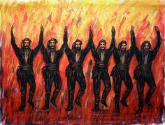 Painting of Pontian dancers Greek Dancing, 1, Painting, Greek Costumes, Dancers, Greece, Youtube, Painting Art, Dancer