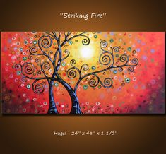 """Original Large Abstract Painting Modern Contemporary Landscape ... Ready to hang ... 24 x 48 .. """"Striking Fire"""". $360.00, via Etsy."""