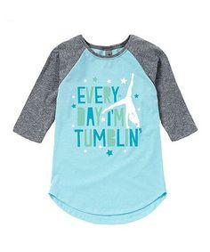 Light Blue & Heather Im Tumblin Raglan Tee - Toddler & Girls | zulily