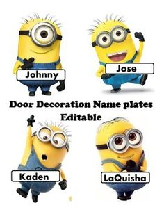 This minion download is bright and editable dcor set to coordinate with a Minion theme. This set includes a sign for your door Look who is bananas over Preschool or Kindergarten The sign is editable and can be changed to any grade level. This set includes 7 different Minions and a banana for you to type in any name or even change the font!