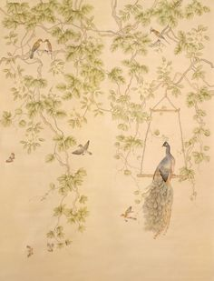 Love the peacock and the unique downward design (branches hang downwards instead of reaching upwards)