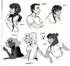 some doodles from the train yesterday :) long time no percy jackson! I needed to practise my profiles…