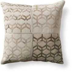 Cube Natural Hide Throw Pillow ($89) ❤ liked on Polyvore featuring home, home decor, throw pillows and textured throw pillows
