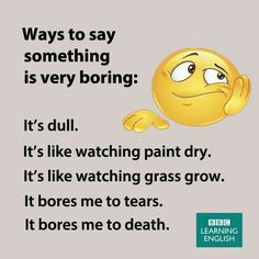 English vocab to boring, dull English Speaking Skills, English Learning Spoken, English Writing Skills, English Language Learning, English Lessons, Teaching English, Foreign Language, Sign Language, English Vinglish