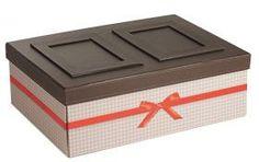 Coffret rectangle vichy marron effet cuir/coloris rouge + cadre photo 35 x 25 x 12 cm