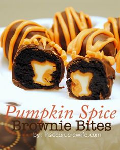 Pumpkin Spice Brownie Bites - pumpkin spice kisses wrapped in a brownie and dipped in chocolate  http://www.insidebrucrewlife.com