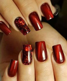 Nail Art Designs In Every Color And Style – Your Beautiful Nails Red Nail Designs, Acrylic Nail Designs, Acrylic Nails, Coffin Nails, Matte Nails, Red Glitter Nails, Red Gel Nails, Coffin Acrylics, Burgundy Nail Designs
