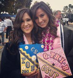 Graduation | Gamma Phi Beta | Decorated GphiB grad caps... LOVE! adorable❤