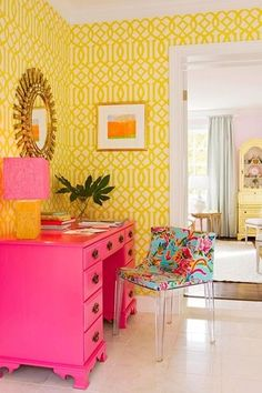 Eclectic Home Office with Kartell mademoiselle chair, Uttermost Destello Gold Starburst Mirror, interior wallpaper