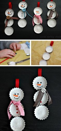 Bottle Cap Snowman Ornaments | Click Pic for 22 DIY Christmas Decor Ideas on a Budget | Last Minute Christmas Decorating Ideas for the Home