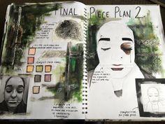 Final piece plan two for exam unit year 12 fine art A Level Art Sketchbook, Sketchbook Layout, Sketchbook Inspiration, Sketchbook Ideas, Art Studio Design, Studio Art, Art Folder, Diy Art Projects, Art Pages