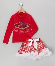 Take a look at this Red 'Ho Ho Ho' Turtleneck & Pettiskirt - Infant, Toddler & Girls by So Girly & Twirly on #zulily today!