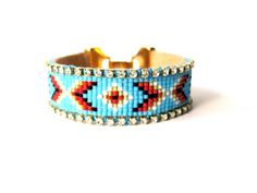 SALE  Tribal bead loom bracelet  by distinguishedjewelry on Etsy