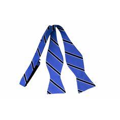 Blue White Black Striped Self-Tie Bow Tie www.vonfloerke.com