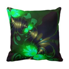 Irish Goblin - Emerald and Gold Ribbons Throw Pillows $32.95