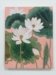 이웃님들 오랜만이예여저는 개인전을 앞두고 넘나 정신없는 하루하루를 보내고 있답니당 ㅠㅠ(그래도 잘껀 ... Korean Painting, Chinese Painting, Chinese Art, Lily Painting, Fabric Painting, Watercolor Lotus, Watercolor Paintings, Lotus Flower Art, Lotus Plant