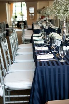 Silver-and-Navy-Wedding-Reception - this would be perfect for the Mt Nittany Club!! (: