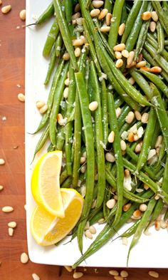 Lemon Garlic Green Beans with Toasted Pine Nuts // made this with green beans and runner beans. try toasting the pine nuts separately as suggested in the recipe