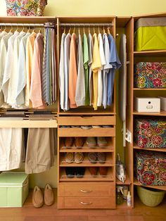 I've already pinned the wide-shot of this closet, but I wanted to point out the FABULOUS trouser rack on the left-side. I'm sick of fighting to hang up my slacks while I hold the multi-leveled hanger in my teeth. And I'm sure my orthodontist would be happier too...    Built-In Storage