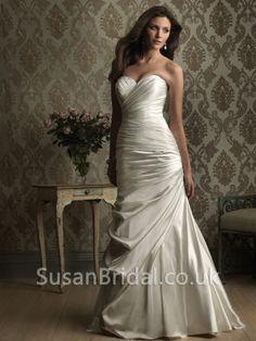 Ruched Bodice Wedding Dress | Plain Sweetheart Ruched Bodice Sweep Satin Wedding Dresses ...