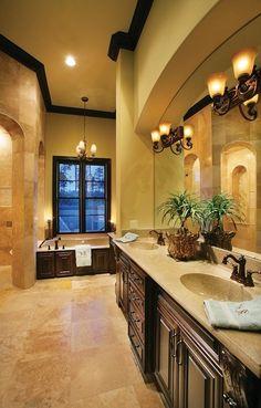 Tuscan style – Mediterranean Home Decor Tuscan Design, Tuscan Style, Dream Bathrooms, Beautiful Bathrooms, Fancy Bathrooms, Luxury Master Bathrooms, White Bathrooms, Brown Bathroom, Tuscan Bathroom