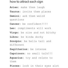 How to attract each sign