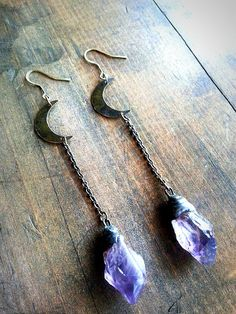 Moon Drop Amethyst Earrings. Hand Cut by TaxilHoax on Etsy, $62.00