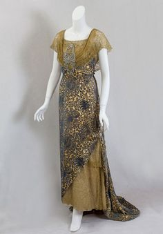 Devoré velvet evening dress trimmed with metallic lace, circa 1910