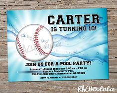 Baseball Pool Party, Birthday Invitation, Printable template, Swim, Swimming invite, End of season baseball team party, Digital download NEW