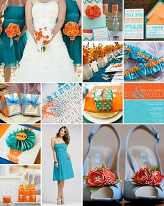 Turquoise and Orange Weddings