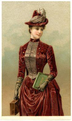 Victorian Ladies Graphics | Victorian Lady Image in Velvet Dress - The Graphics Fairy