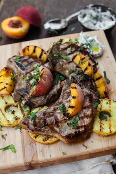 Whatever stone fruit is in season, grill it up! Pork Chops with Grilled Nectarines or Peaches is a classic made better with Colavita Balsamic Glace Balsamic Pork Chops, Peach Pork Chops, Grilled Pork Chops, Balsamic Glaze, Nectarine Recipes, Grill Stone, Grilled Peaches, Quick Easy Meals, Main Dishes